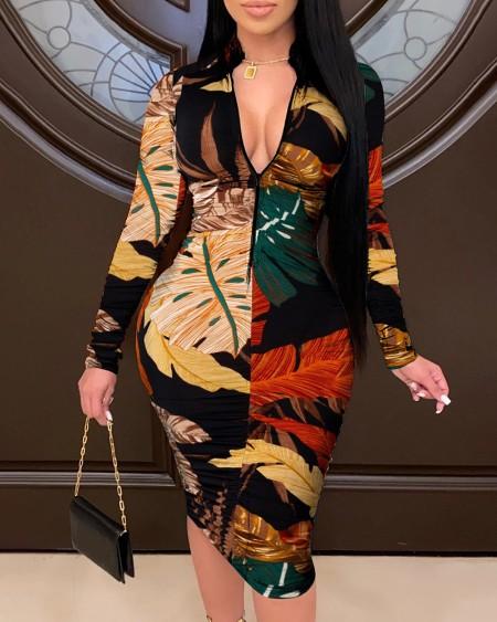 Tropical Leaf Print Bodycon Dress