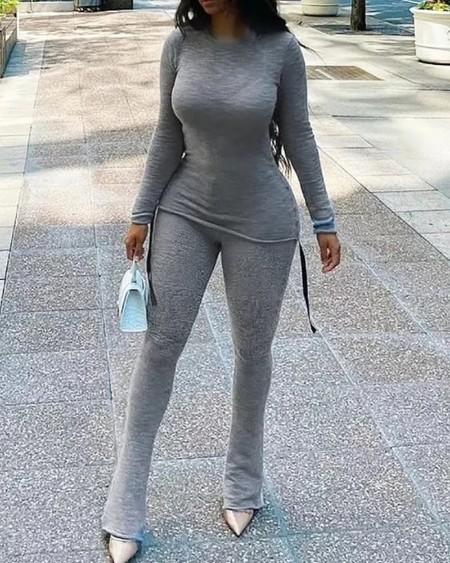 Long Sleeve Round Neck Top & Bootcut Pants Set