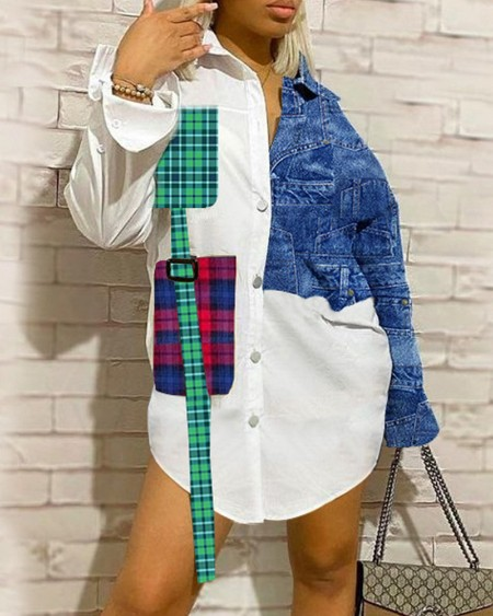 Color Block Splicing Plaid Long Sleeve Shirt Mini Dress
