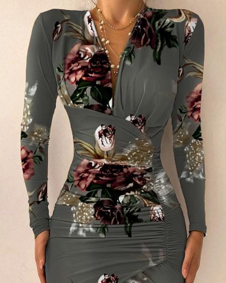 Floral Print Asymmetrical Hem Ruched Long Sleeve Party Dress Slim Fit Bodycon Dress