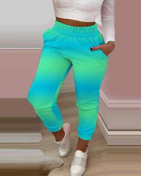 Ombre Colorblock Shirring Waist Frill Hem Casual Pants