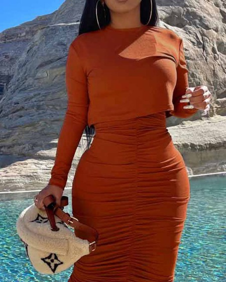 Long Sleeve Crop Top & Ruched Maxi Skirt Set
