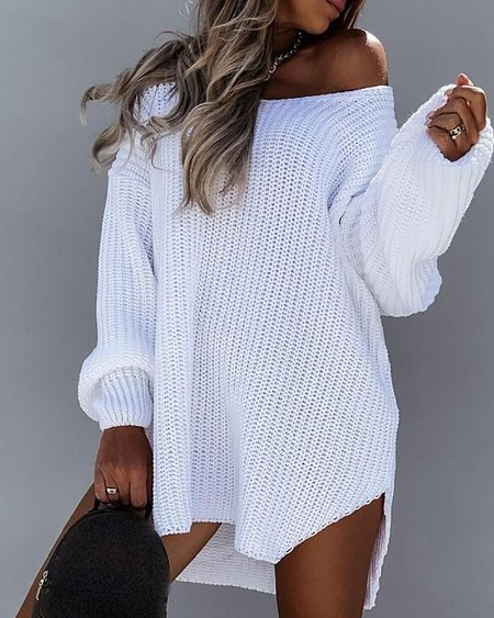 Long Sleeve Slit Round Neck Casual Dress