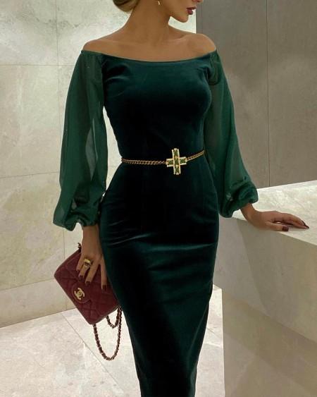 Velvet Off Shoulder Contrast Mesh Lantern Sleeve Skinny Dress