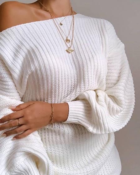 One Shoulder Lantern Sleeve Knit Dress