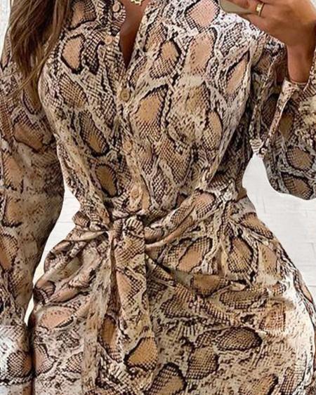 Snakeskin Print Knot Front Button Shirt Dress