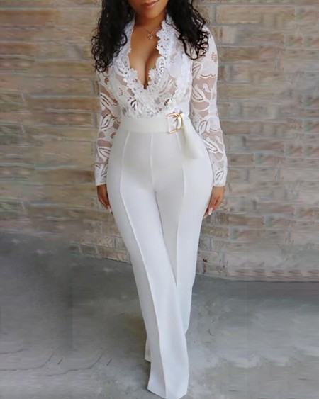 Lace Bodice Plunge Long Sleeve Jumpsuit