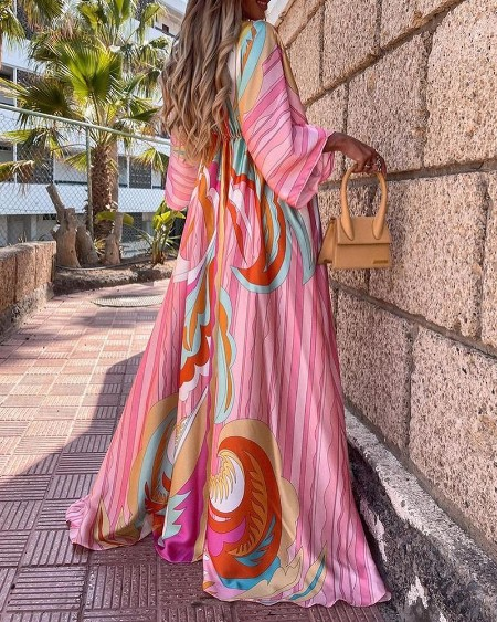 Graphic Print Tied Detail Batwing Sleeve Maxi Dress