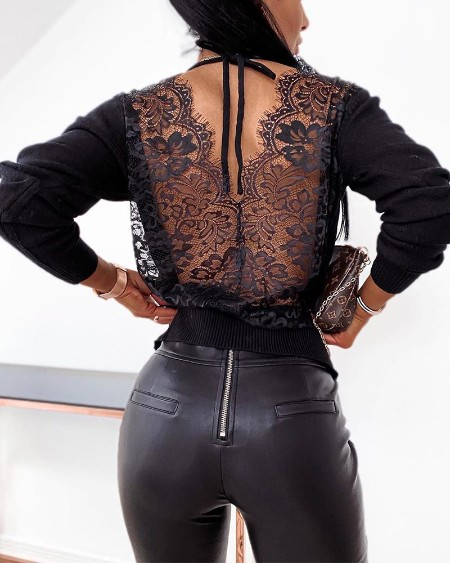 Backless Solid Lace Stitching Blouse
