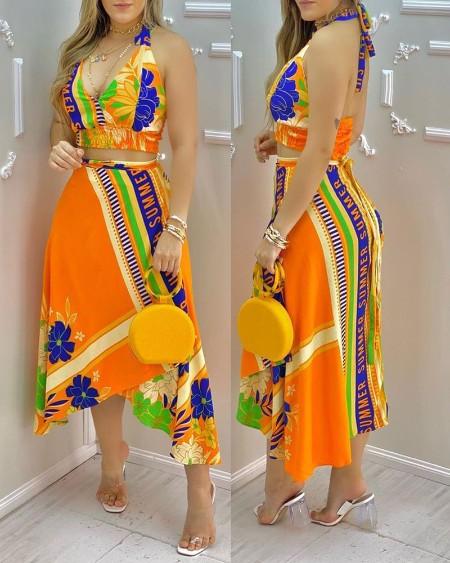Floral Letter Print Halter Shirred Top & Asymmetrical Trim Skirt Set