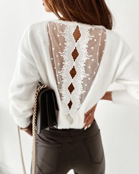 Fluffy Dot Mesh Lace Cutout Back Sweater