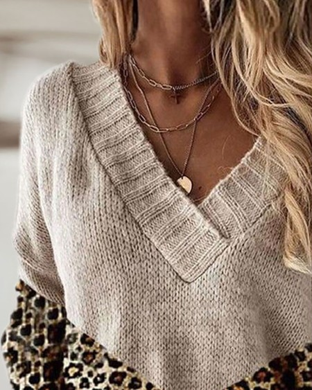 Leopard Print Long Sleeve Casual Sweater