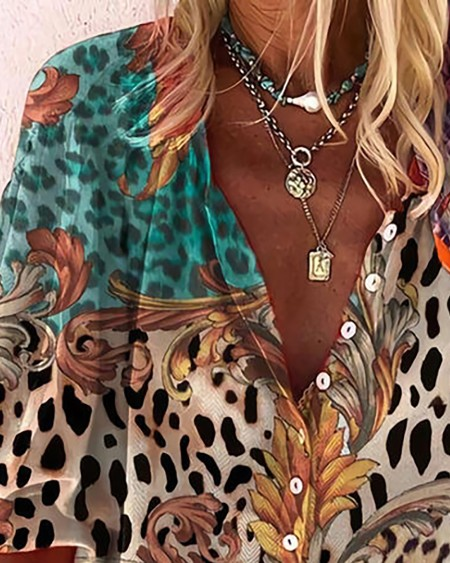 Leopard Print V-Neck 3/4 Sleeves Button Up Casual Shirt Blouse