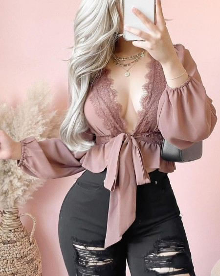 Contrast Lace Long Sleeve Belted Peplum Top