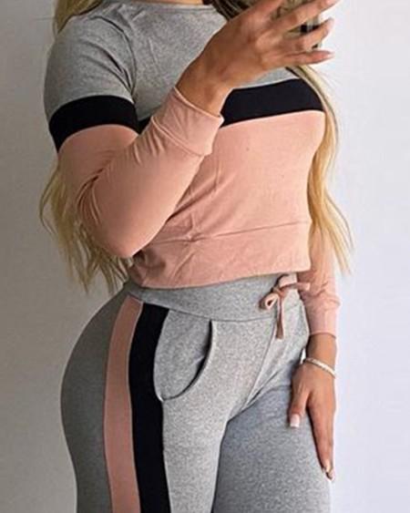Colorblock Long Sleeve Top & Pocket Drawstring Pants Set