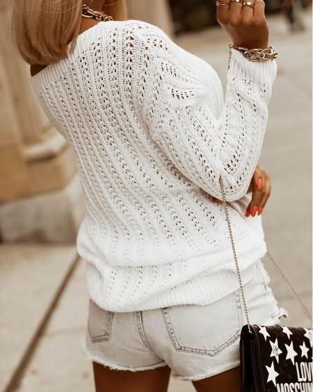 Open Knit Drop Shoulder Sweater