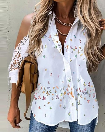 Butterfly Print Lace Patch Cold Shoulder Top