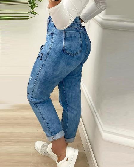 Letter Print Pocket Button Design Jeans