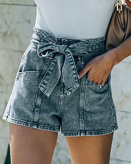 Pocket Design High Waist Denim Shorts
