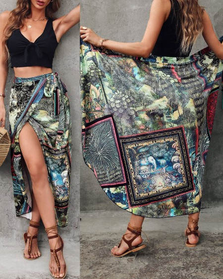 Graphic Print Colorblock Tied Detail Cover Up