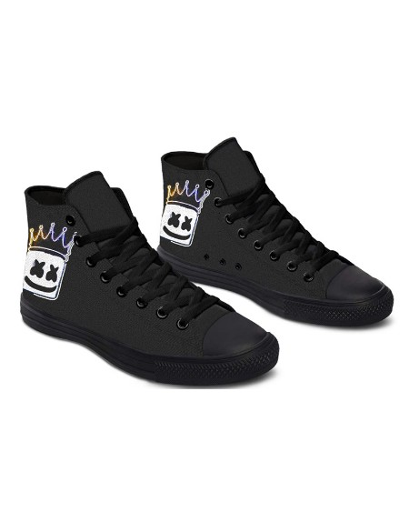 Womens Crown Smile Print Lace-up High Top Canvas Casual Shoes