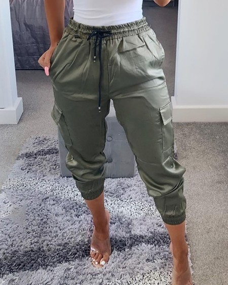 Drawstring Pocket Design Cargo Pants
