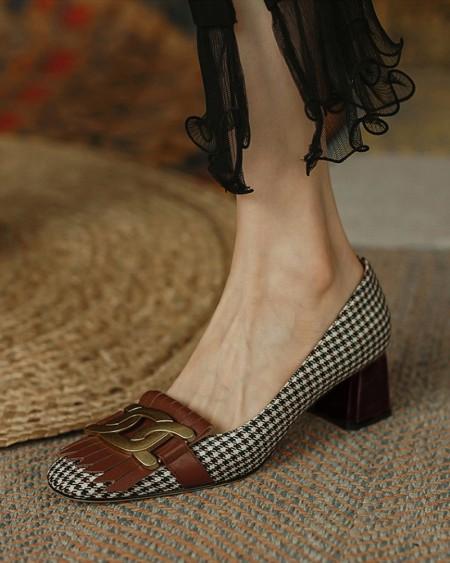 Square-toe Houndstooth Print Splicing Tassel Buckle High Heels