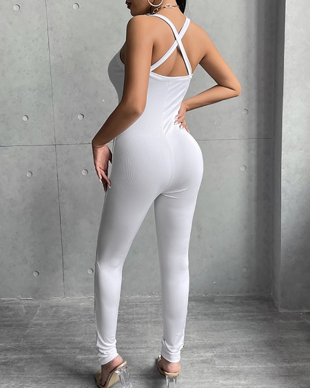 Ribbed Criss Cross Backless Skinny Jumpsuit