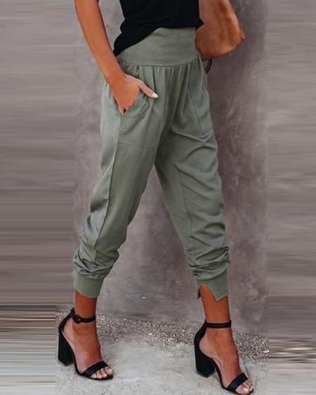 High Waist Pocket Design Casual Pants