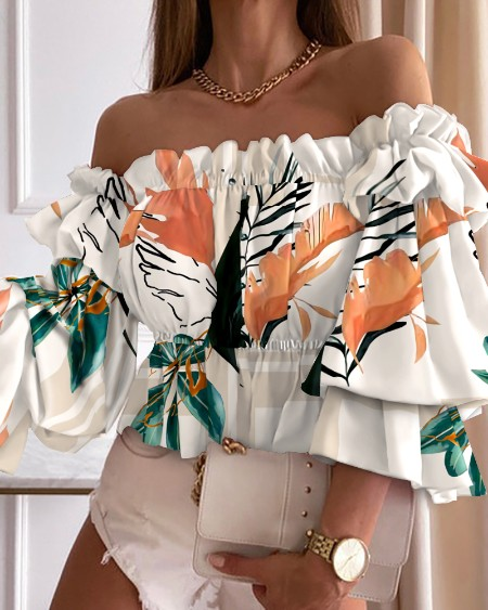 Floral Print Off Shoulder Shirred Frill Hem Top