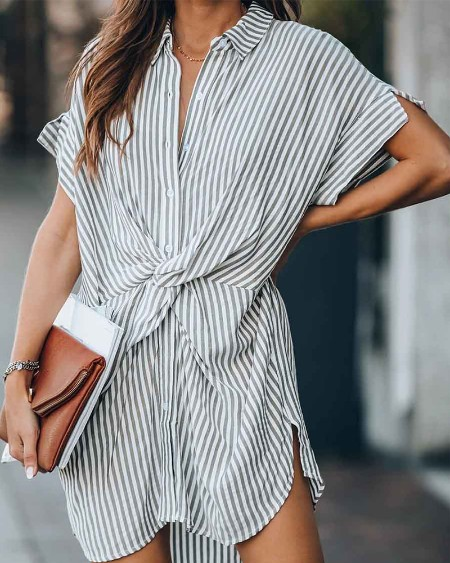Stripe Print Knot Front Shirt Dress