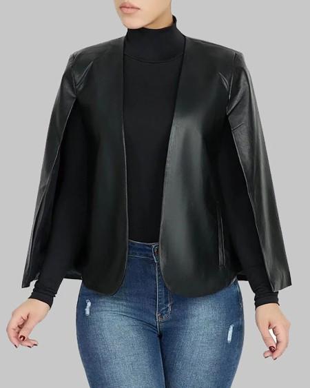 Fake Two-piece PU Leather Pocket Design Coat