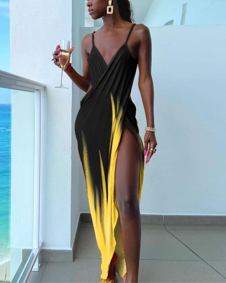 Asymmetrical Cami High Slit Colorblock Ruched Maxi Dress