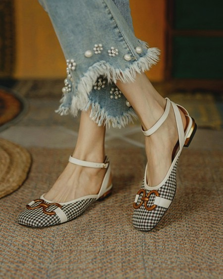 Square-toe Houndstooth Print Splicing Chain Flat Shoes