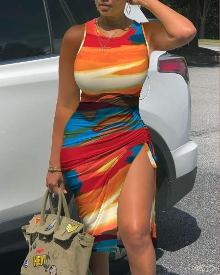 Abstract Colorblock Print Long Sleeve Drawstring Ruched Skinny Dress