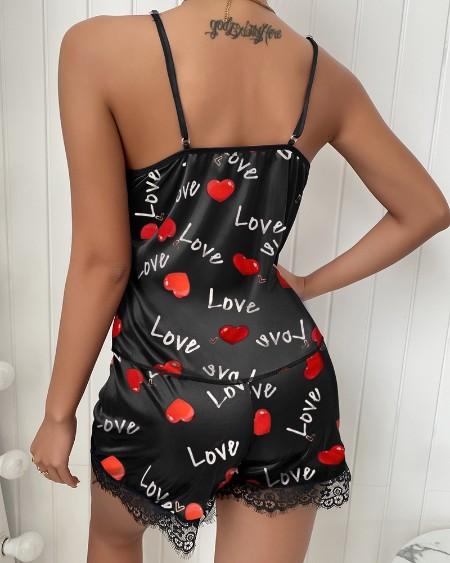 Heart Print Contrast Lace Cami Sets