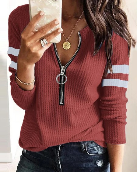 Colorblock Zipper Front Long Sleeve Top
