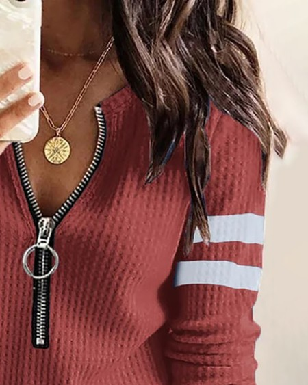Colorblock Zipper Front Long Sleeve Top