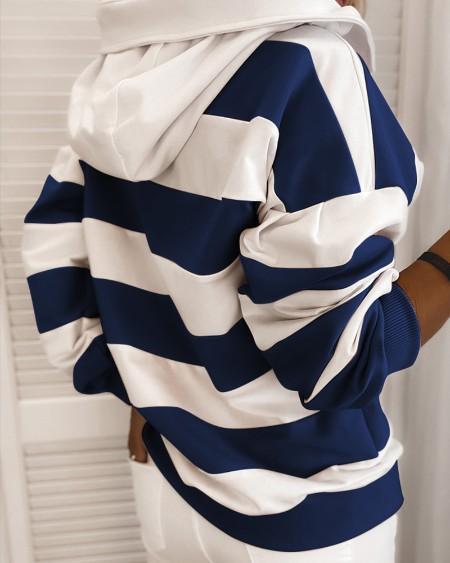 Striped Colorblock Long Sleeve Hooded Sweatshirt