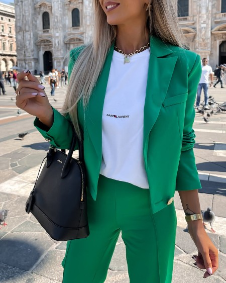 Button Design Blazer Coat & High Waist Pants Set