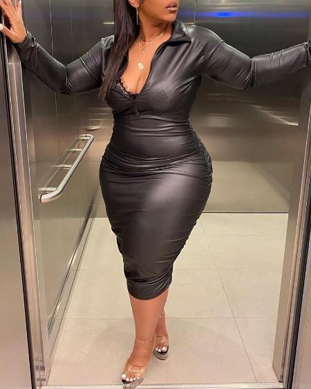 Plus Size Ruched PU Leather Zipper Design Dress