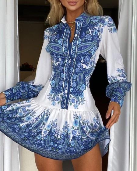 Paisley Floral Print Buttoned Long Sleeve Shirt Dress