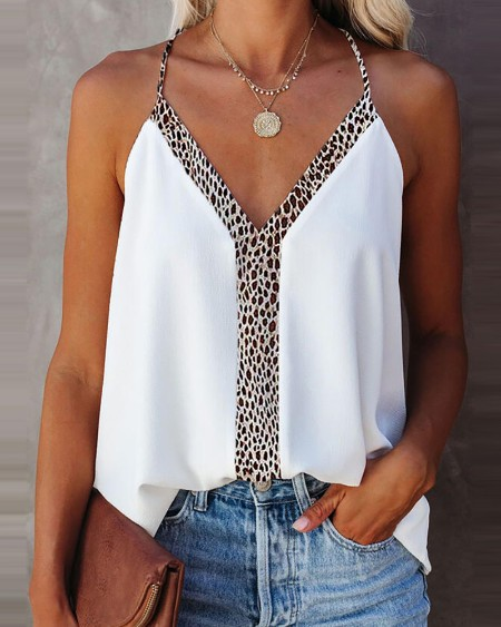 Leopard Print Halter Sleeveless Top