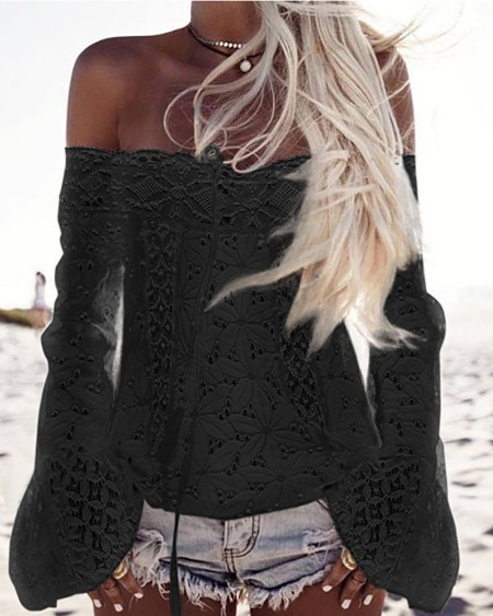 Off Shoulder Eyelet Embroidery Lace Patch Top
