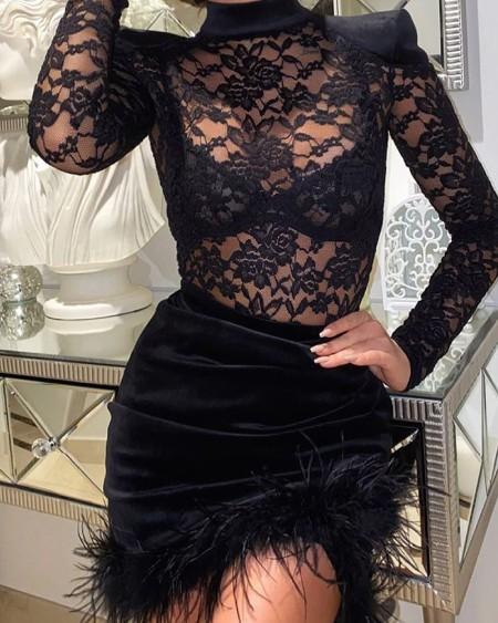 Padded Shoulder Lace Velvet Patch Feather Decor Party Dress