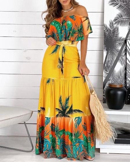 Off Shoulder Tropical Print Ruffles Maxi Dress With Belt
