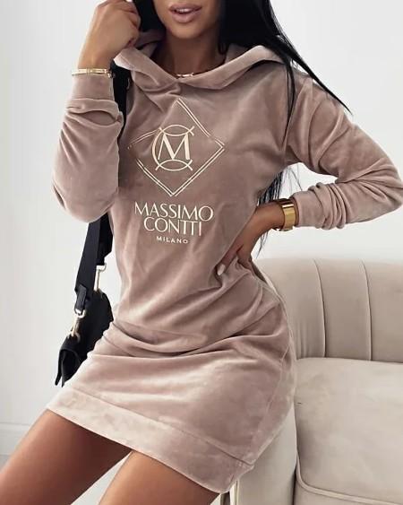 Letter Embroidery Velvet Hooded Sweatshirt Dress