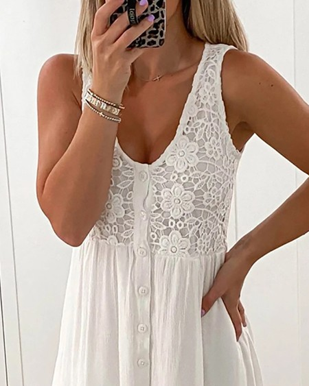 Floral Pattern Lace Button Front Casual Dress