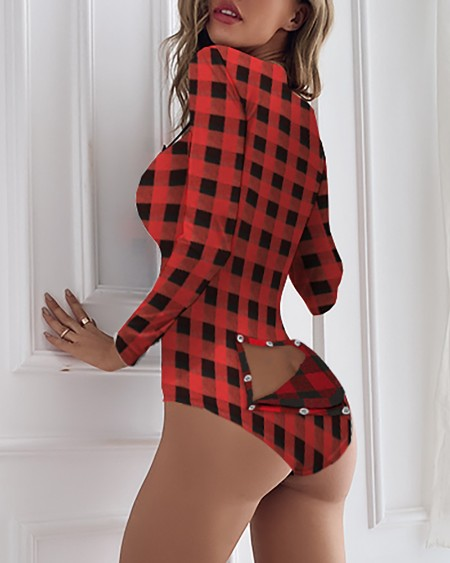 Plaid Print Long Sleeve Functional Button Design Romper Without Socks