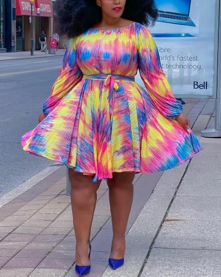 Tie Dye Lantern Sleeve Belted Casual Dress
